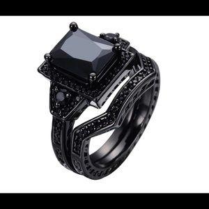 Black diamond marcasite princess emerald wedding